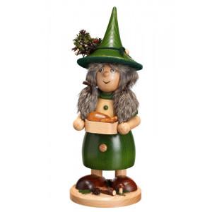 Räucherfrau Wichtelfrau mit Pfanne grün