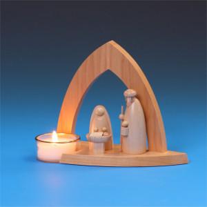 Teelicht-Leuchter Bogenkrippe mit Heiliger Familie