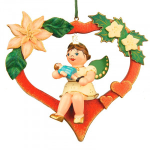 Baumbehang Engel mit Herz und Puppe