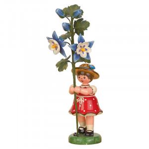 Blumenkind Mädchen mit Akelei Pflanze