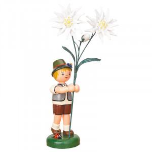 Blumenkind Junge mit Edelweiß