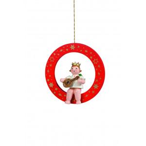 Engel mit Mandoline im roten Ring
