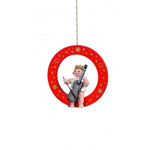 Engel mit Cello im roten Ring