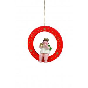 Engel mit Trompete im roten Ring