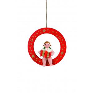 Engel mit Akkordeon im roten Ring