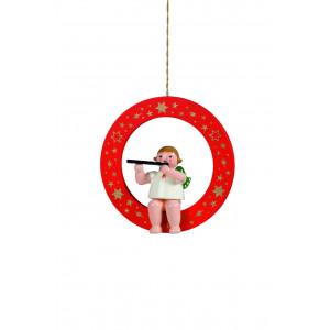 Engel mit Querflöte im roten Ring