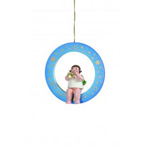 Engel mit Trompete im blauen Ring