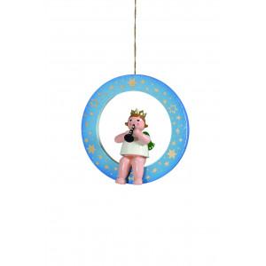 Engel mit Flöte im blauen Ring