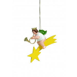 Engel mit englischem Horn auf Sternschnuppe