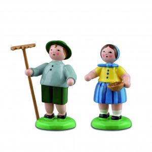 Bauernpaar mit Rechen und Schale