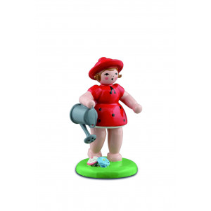 Gärtnermädchen mit Gießkanne, rot