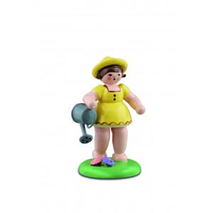 Gärtnermädchen mit Gießkanne, gelb