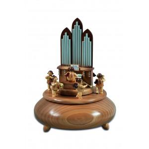 Spieldose Orgel mit Engel und 6 Bläser natur