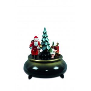 Spieldose Weihnachtsmann, 2 Engel mit Schlitten blau,