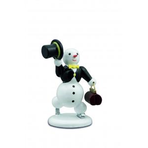 Schneemann mit Zylinder und Tasche