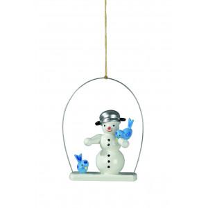 Baumbehang Schneemann mit Vögel im Ring