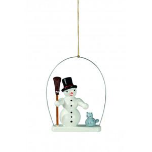 Baumbehang Schneemann mit Besen im Ring