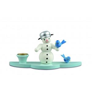 Kerzenhalter Schneemann mit Vögeln