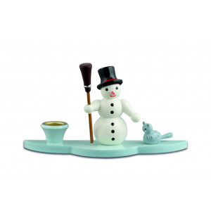 Kerzenhalter Schneemann mit Besen