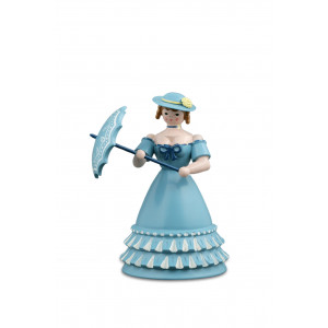 Biedermeierfrau mit Schirm blau