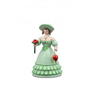 Biedermeierfrau mit Blumen und Tasche grün