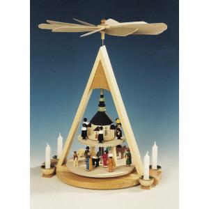 Pyramide Christi Geburt, bunt, 2-stöckig