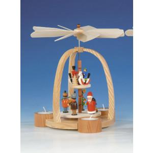 Teelichtpyramide mit Weihnachtsmann, bunt