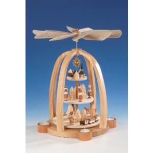Teelichtpyramide Krippe, natur, 3-stöckig