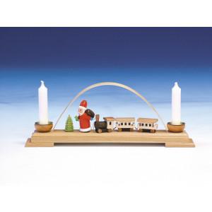 Schwibbogen mit Eisenbahn und Weihnachtsmann