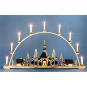 Schwibbogen Seiffener Kirche und Innenbeleuchtung