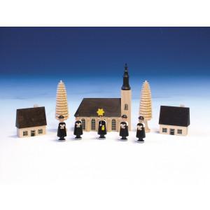 Kurrende mit Schneeberger Kirche, bunt