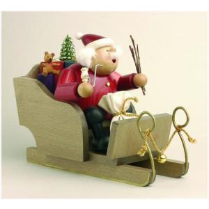 Räuchermännchen Weihnachtsmann mit Schlitten und Tanne