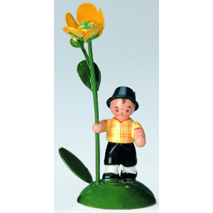 Blumenkind Junge mit Butterblume