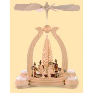 Teelicht-Bogenpyramide Wintermotiv
