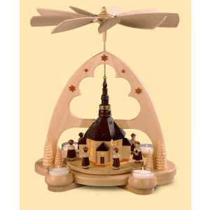 Teelicht-Bogenpyramide Seiffener Kirche mit LED-Beleuchtung