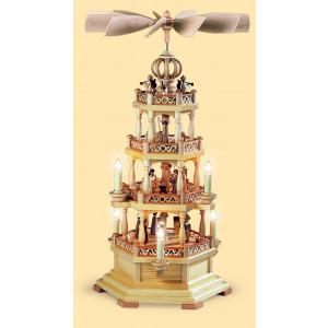 Pyramide mit Heiliger Geschichte und Engel 3-stöckig, elektrisch