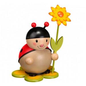 Marienkäfer mit Blume links groß
