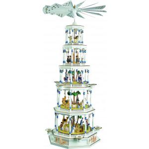 Pyramide Christi Geburt 5-stöckig weiß, mit Spielwerk
