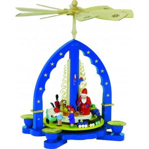 Pyramide Weihnachtsbescherung, blau