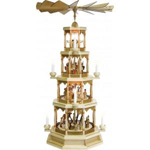 Pyramide Christi Geburt 4-stöckig natur, elektrisch, mit Spielwerk