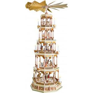 Pyramide Christi Geburt 5-stöckig natur, elektrisch, mit Spielwerk