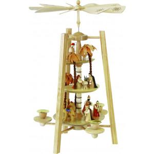 Pyramide Christi Geburt 3-stöckig natur