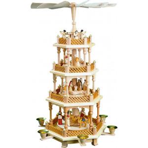 Pyramide Christi Geburt 3-stöckig, natur