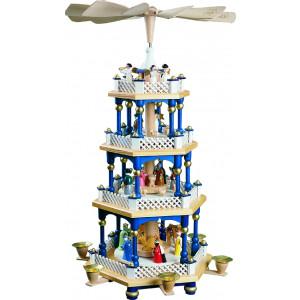 Pyramide Christi Geburt 3-stöckig, blau