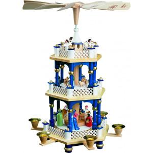 Pyramide Christi Geburt 2-stöckig, blau