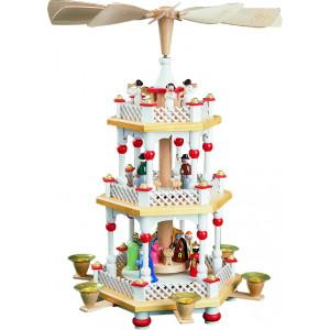 Pyramide Christi Geburt 2-stöckig, weiß