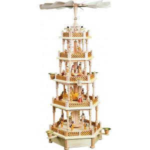 Pyramide Christi Geburt 4-stöckig natur, mit Spielwerk