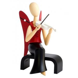 Sternkopf-Engel mit Geige sitzend