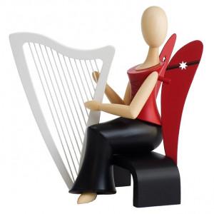 Sternkopf-Engel mit Harfe sitzend