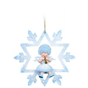 Baumbehang Schneeflöckchen mit Trompete im Kristall